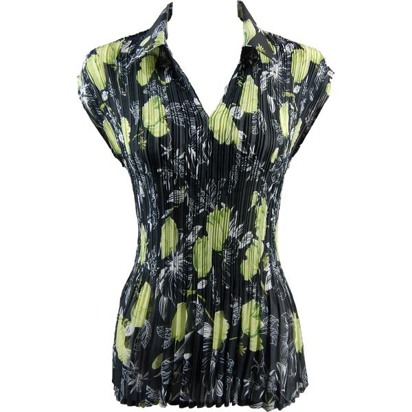 Georgette Mini Pleats - Cap Sleeve with Collar Black-Kiwi Floral - One Size (S-XL)