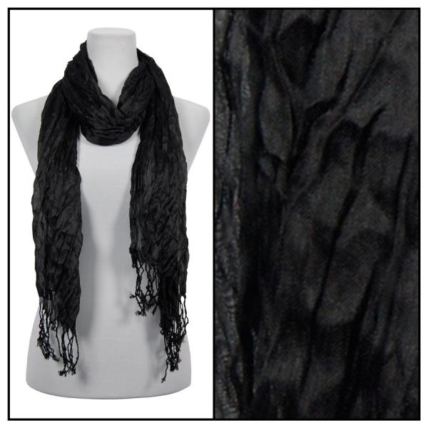 wholesale Oblong Scarves - Crinkle 3081* Black -