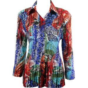 wholesale Satin Mini Pleats - Blouse Abstract Blue-Red - One Size (S-XL)