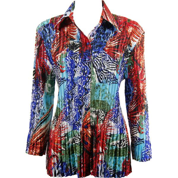 wholesale Satin Mini Pleats - Blouse Abstract Blue-Red Satin Mini Pleat - Blouse - One Size (S-XL)