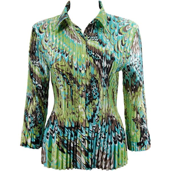 wholesale Satin Mini Pleats - Blouse Lime-Aqua Peacock Satin Mini Pleat - Blouse - One Size (S-XL)
