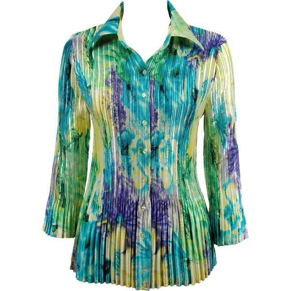 wholesale Satin Mini Pleats - Blouse Blue-Purple-Yellow Watercolors Satin Mini Pleat - Blouse - One Size (S-XL)