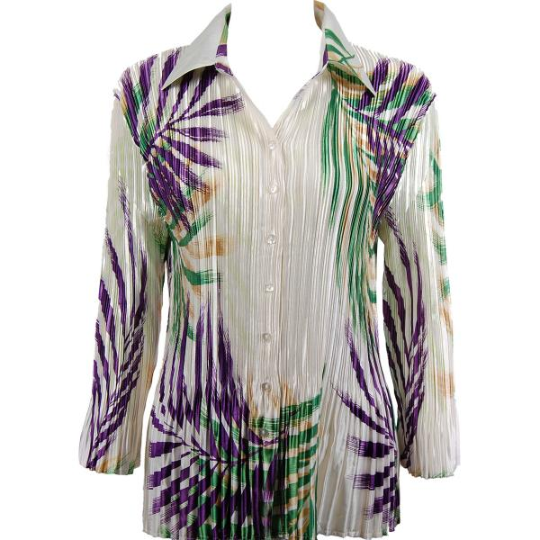 wholesale Satin Mini Pleats - Blouse Palm Leaf Green-Purple Satin Mini Pleat - Blouse - One Size (S-XL)