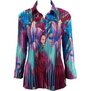 wholesale Satin Mini Pleats - Blouse Red-Blue Flower - One Size (S-XL)