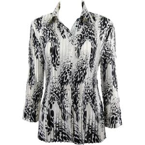 Wholesale  White-Black Swirl Dots Satin Mini Pleat - Blouse - One Size (S-XL)