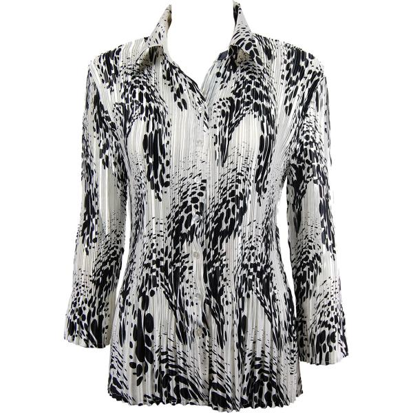 wholesale Satin Mini Pleats - Blouse White-Black Swirl Dots Satin Mini Pleat - Blouse - One Size (S-XL)