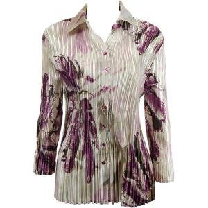 Wholesale  Olive-Raspberry Leaf Satin Mini Pleat - Blouse - One Size (S-XL)