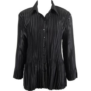 Wholesale  Solid Black Satin Mini Pleat - Blouse - One Size (S-XL)