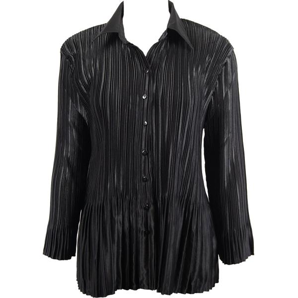 wholesale Satin Mini Pleats - Blouse Solid Black Satin Mini Pleat - Blouse - One Size (S-XL)
