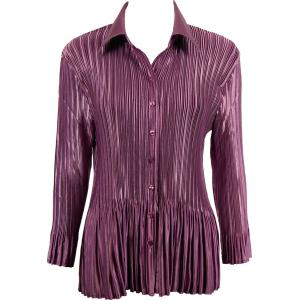 wholesale Satin Mini Pleats - Blouse Solid Eggplant - One Size (S-XL)