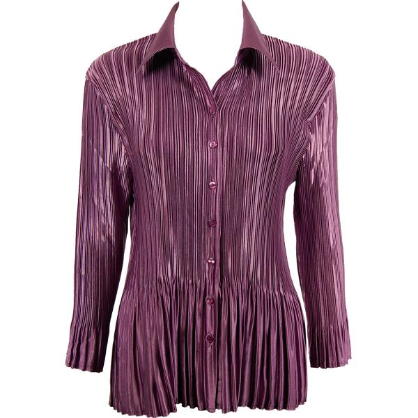 wholesale Satin Mini Pleats - Blouse Solid Eggplant Satin Mini Pleat - Blouse - One Size (S-XL)