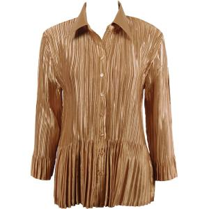 wholesale Satin Mini Pleats - Blouse Solid Gold - One Size (S-XL)
