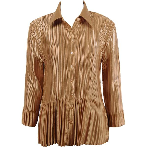 wholesale Satin Mini Pleats - Blouse Solid Gold Satin Mini Pleat - Blouse - One Size (S-XL)