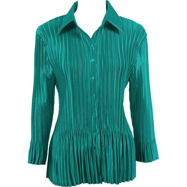 wholesale Satin Mini Pleats - Blouse Solid Dark Teal Satin Mini Pleat - Blouse - One Size (S-XL)