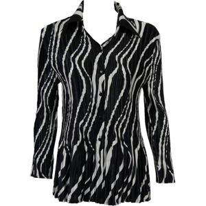 wholesale Satin Mini Pleats - Blouse Ribbon Black-White - One Size (S-XL)