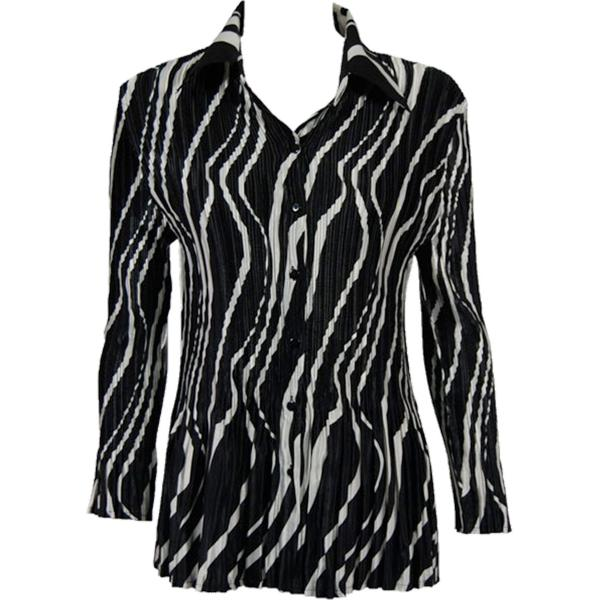 wholesale Satin Mini Pleats - Blouse Ribbon Black-White Satin Mini Pleat - Blouse - One Size (S-XL)