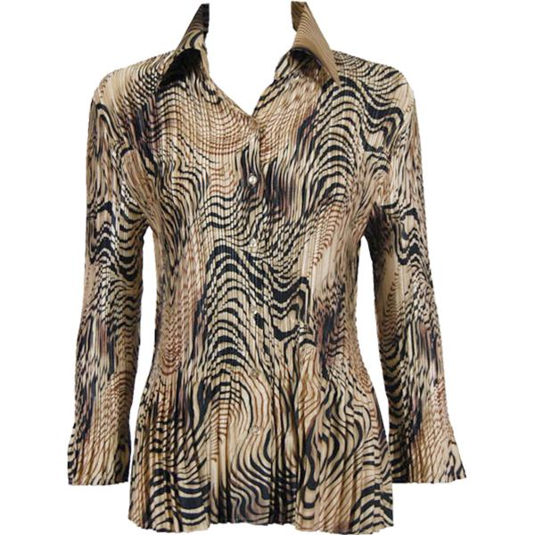 wholesale Satin Mini Pleats - Blouse Swirl Animal Satin Mini Pleat - Blouse - One Size (S-XL)