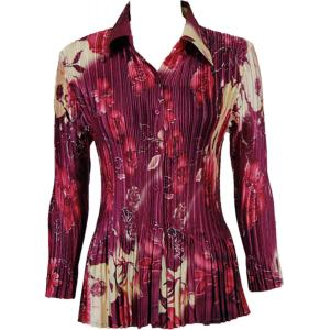 Wholesale  Rose Floral - Berry Satin Mini Pleat - Blouse - One Size (S-XL)
