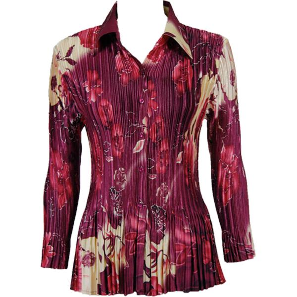 wholesale Satin Mini Pleats - Blouse Rose Floral - Berry Satin Mini Pleat - Blouse - One Size (S-XL)