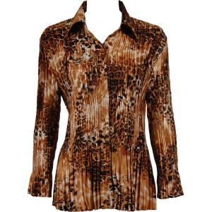Wholesale  Golden Leopard Satin Mini Pleat - Blouse - One Size (S-XL)