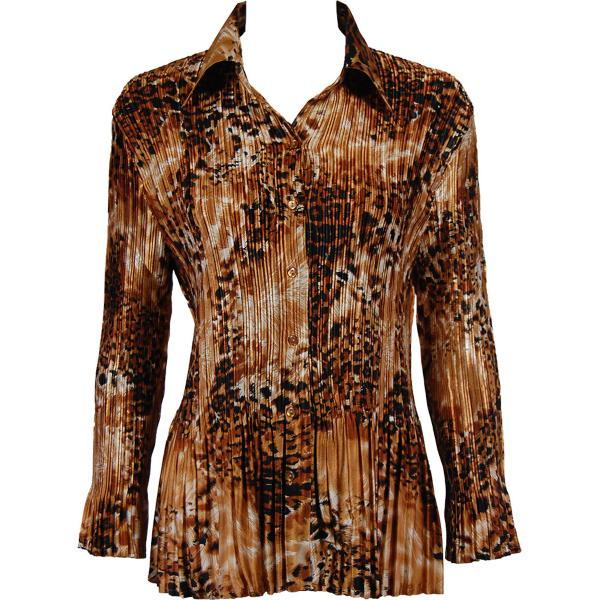 wholesale Satin Mini Pleats - Blouse Golden Leopard Satin Mini Pleat - Blouse - One Size (S-XL)