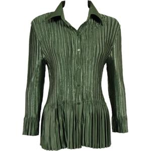 wholesale Satin Mini Pleats - Blouse Solid Olive - One Size (S-XL)