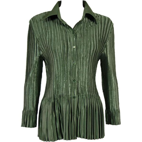 wholesale Satin Mini Pleats - Blouse Solid Olive Satin Mini Pleat - Blouse - One Size (S-XL)