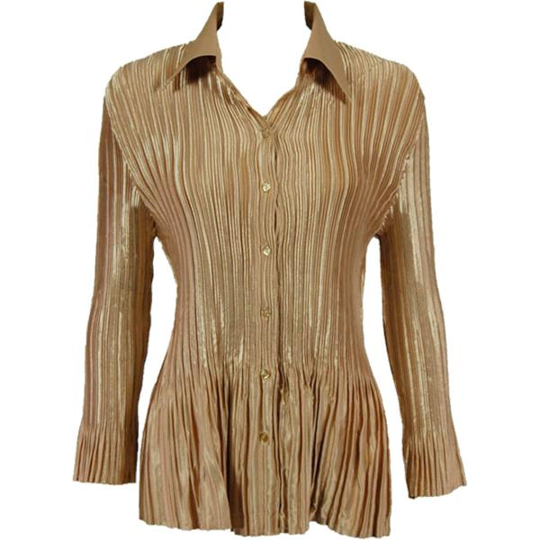 wholesale Satin Mini Pleats - Blouse Solid Light Gold Satin Mini Pleat - Blouse - One Size (S-XL)