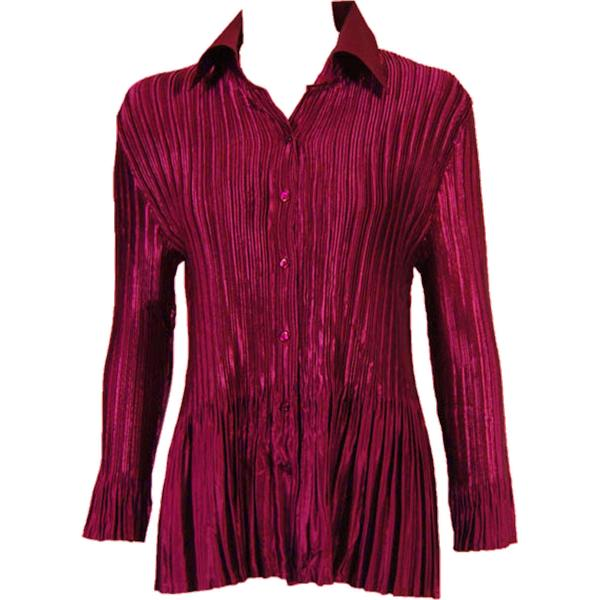wholesale Satin Mini Pleats - Blouse Solid Ruby Satin Mini Pleat - Blouse - One Size (S-XL)