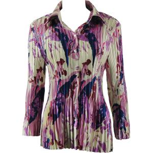wholesale Satin Mini Pleats - Blouse Abstract Floral Raspberry-Navy - One Size (S-XL)