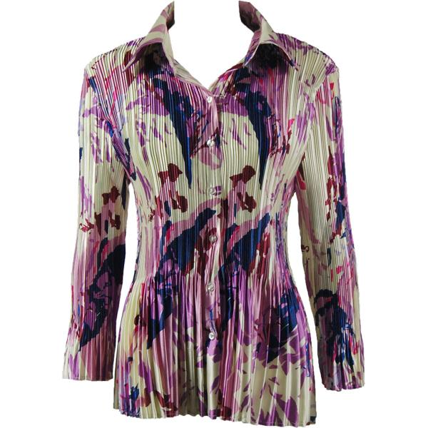 wholesale Satin Mini Pleats - Blouse Abstract Floral Raspberry-Navy Satin Mini Pleat - Blouse - One Size (S-XL)