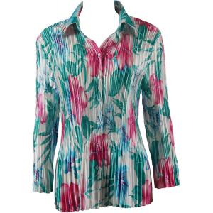 wholesale Satin Mini Pleats - Blouse Bright Bouquet - One Size (S-XL)