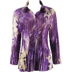 wholesale Satin Mini Pleats - Blouse Rose Floral - Purple - One Size (S-XL)