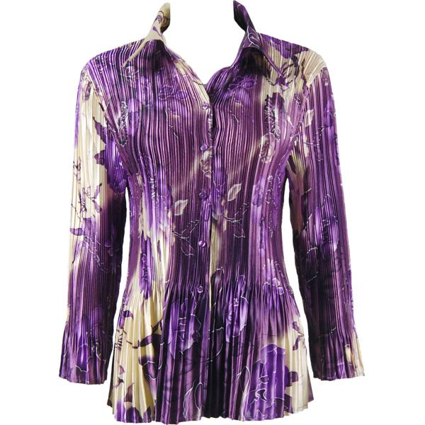 wholesale Satin Mini Pleats - Blouse Rose Floral - Purple Satin Mini Pleat - Blouse - One Size (S-XL)
