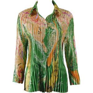 wholesale Satin Mini Pleats - Blouse Swirl Green-Gold - One Size (S-XL)