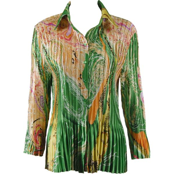 wholesale Satin Mini Pleats - Blouse Swirl Green-Gold Satin Mini Pleat - Blouse - One Size (S-XL)