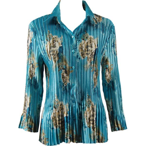 wholesale Satin Mini Pleats - Blouse Taupe on Teal Satin Mini Pleat - Blouse - One Size (S-XL)