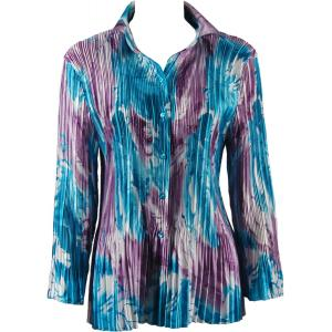 wholesale Satin Mini Pleats - Blouse Turquoise-Purple Watercolors - One Size (S-XL)