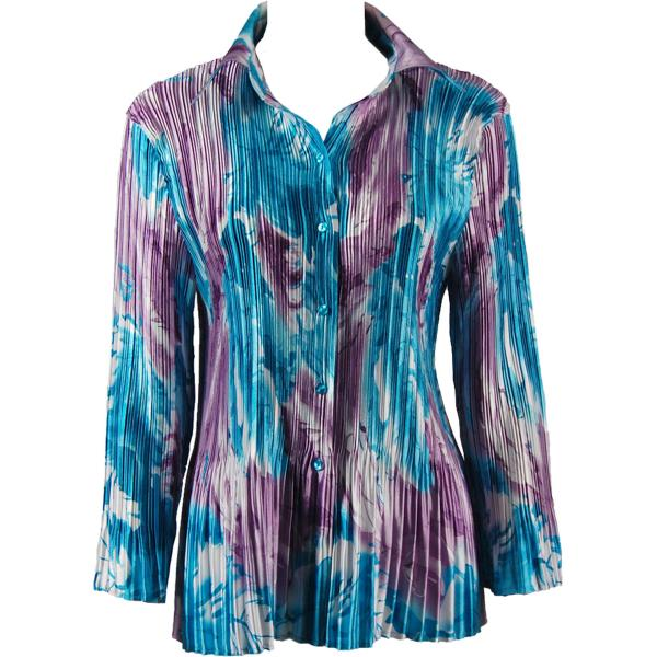 wholesale Satin Mini Pleats - Blouse Turquoise-Purple Watercolors Satin Mini Pleat - Blouse - One Size (S-XL)