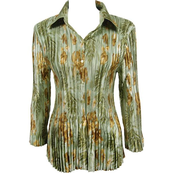 wholesale Satin Mini Pleats - Blouse Gold-Sage Floral Satin Mini Pleat - Blouse - One Size (S-XL)