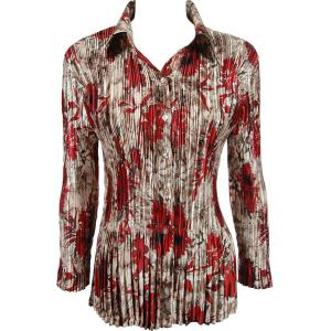 wholesale Satin Mini Pleats - Blouse Crimson-Taupe Floral - One Size (S-XL)