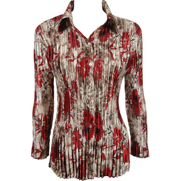 wholesale Satin Mini Pleats - Blouse Crimson-Taupe Floral Satin Mini Pleat - Blouse - One Size (S-XL)
