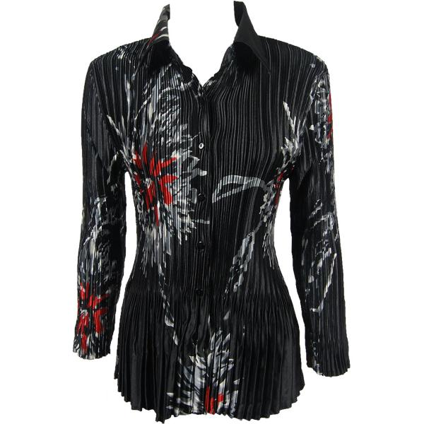 wholesale Satin Mini Pleats - Blouse Oriental Floral Black-Red Satin Mini Pleat - Blouse - One Size (S-XL)