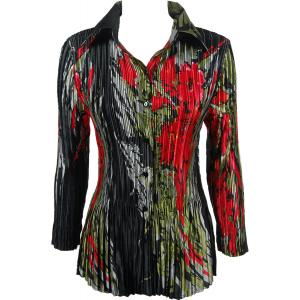 Wholesale  Olive-Red Floral on Black Satin Mini Pleat - Blouse - One Size (S-XL)