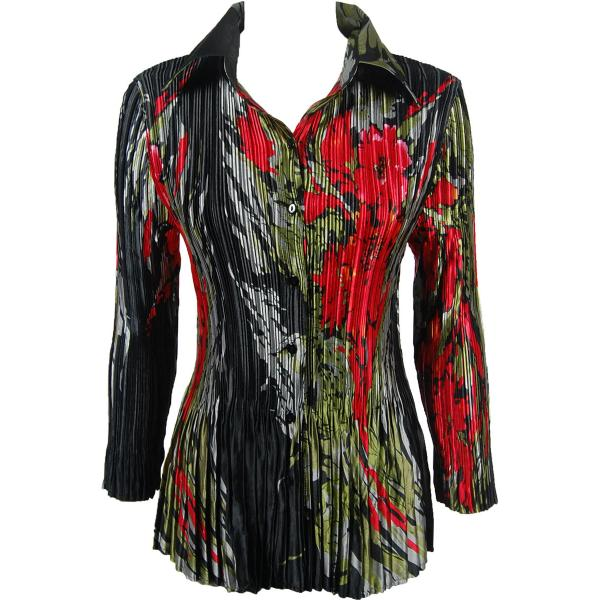 wholesale Satin Mini Pleats - Blouse Olive-Red Floral on Black Satin Mini Pleat - Blouse - One Size (S-XL)