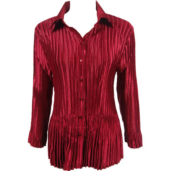 wholesale Satin Mini Pleats - Blouse Solid Wine Satin Mini Pleat - Blouse - One Size (S-XL)