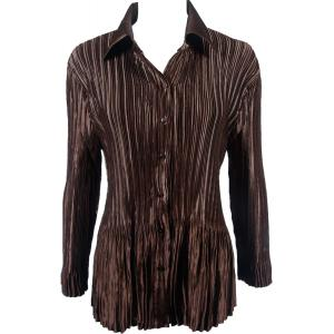 Wholesale  Solid Brown Satin Mini Pleat - Blouse - One Size (S-XL)