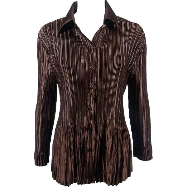 wholesale Satin Mini Pleats - Blouse Solid Brown Satin Mini Pleat - Blouse - One Size (S-XL)