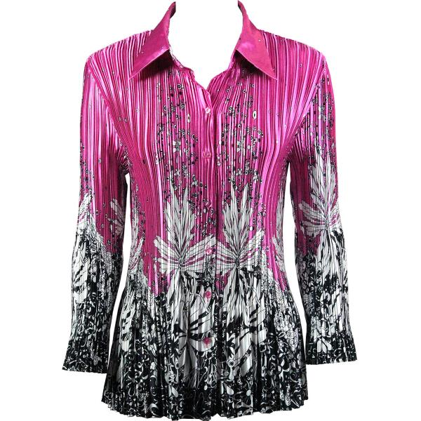 wholesale Satin Mini Pleats - Blouse Flowers and Dots 2 Pink-White Satin Mini Pleat - Blouse - One Size (S-XL)