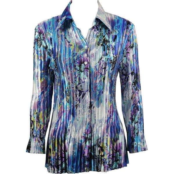 wholesale Satin Mini Pleats - Blouse Paint Splatter Aqua-Purple Satin Mini Pleat - Blouse - One Size (S-XL)
